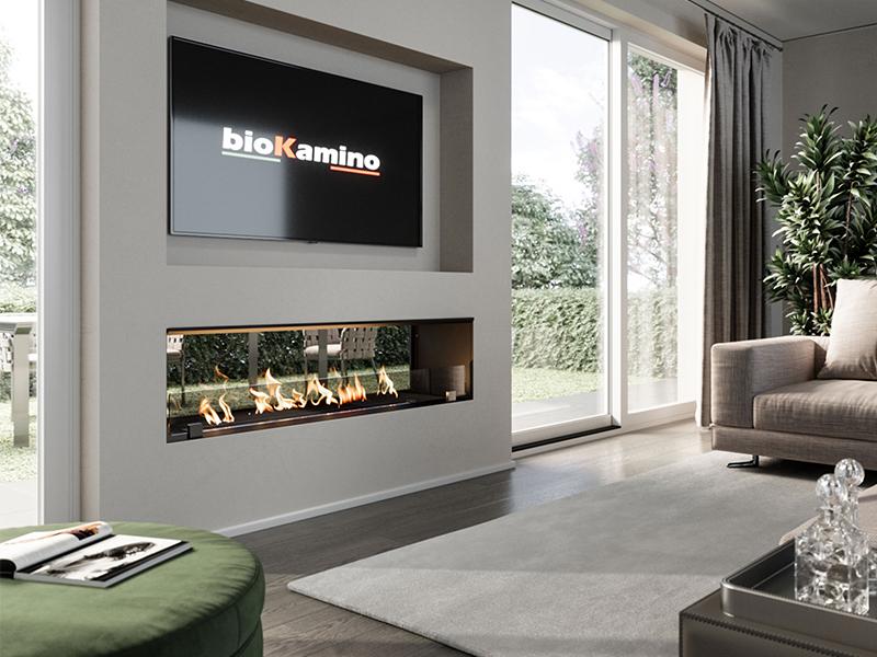 BKBF-BVF - biocamino da incasso bifacciale chiuso con vetro | bioKamino